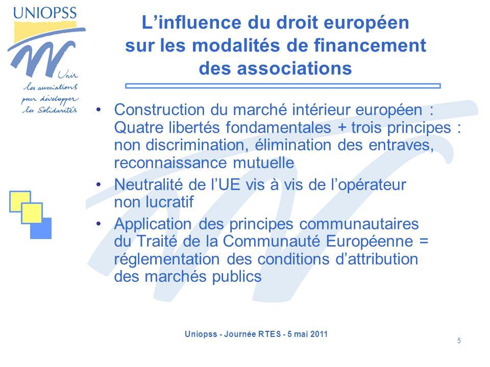 Uniopss - Journée RTES - 5 mai 2011 5 Linfluence du droit européen sur les modalités de financement des associations Construction du marché intérieur