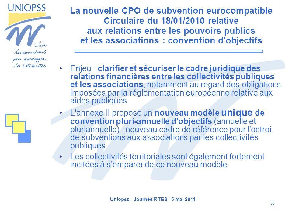 Uniopss - Journée RTES - 5 mai 2011 50 La nouvelle CPO de subvention eurocompatible Circulaire du 18/01/2010 relative aux relations entre les pouvoirs