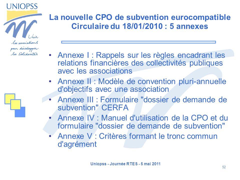 Uniopss - Journée RTES - 5 mai 2011 52 La nouvelle CPO de subvention eurocompatible Circulaire du 18/01/2010 : 5 annexes Annexe I : Rappels sur les rè