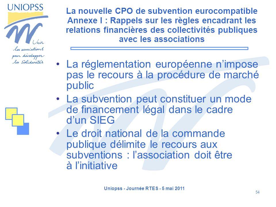 Uniopss - Journée RTES - 5 mai 2011 54 La nouvelle CPO de subvention eurocompatible Annexe I : Rappels sur les règles encadrant les relations financiè
