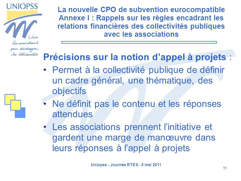 Uniopss - Journée RTES - 5 mai 2011 55 La nouvelle CPO de subvention eurocompatible Annexe I : Rappels sur les règles encadrant les relations financiè