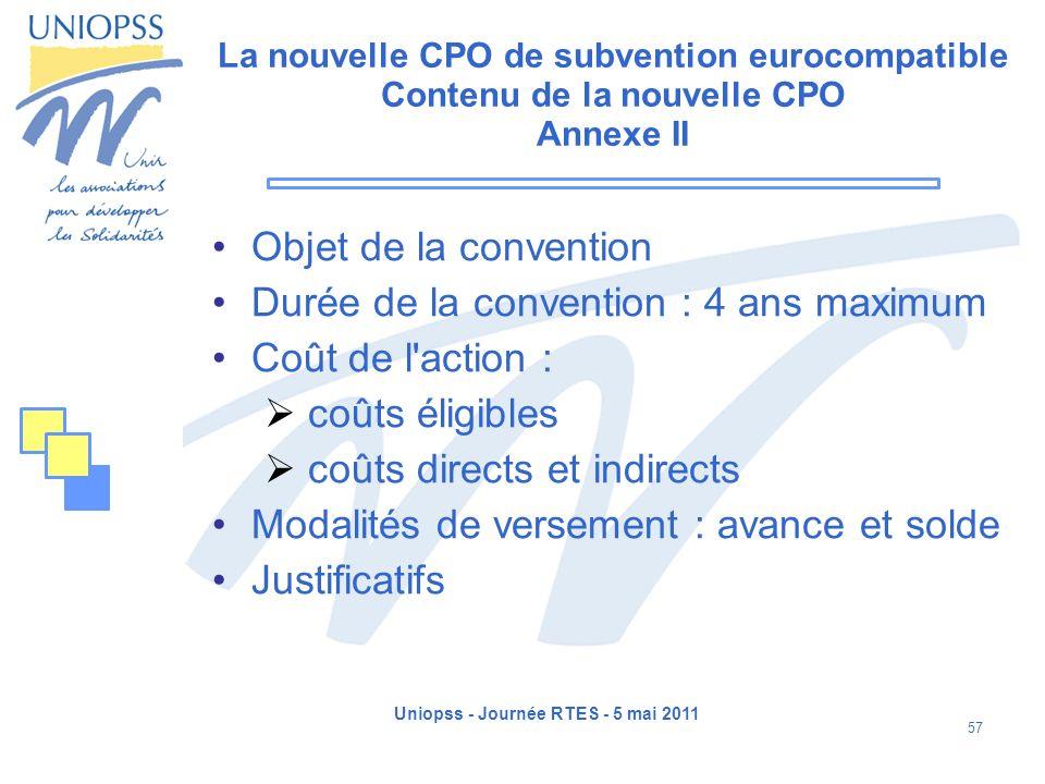 Uniopss - Journée RTES - 5 mai 2011 57 La nouvelle CPO de subvention eurocompatible Contenu de la nouvelle CPO Annexe II Objet de la convention Durée