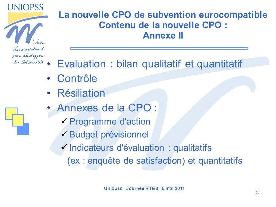 Uniopss - Journée RTES - 5 mai 2011 58 La nouvelle CPO de subvention eurocompatible Contenu de la nouvelle CPO : Annexe II Evaluation : bilan qualitat