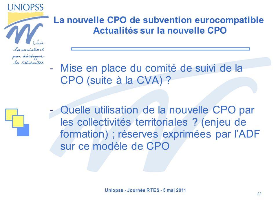 Uniopss - Journée RTES - 5 mai 2011 63 La nouvelle CPO de subvention eurocompatible Actualités sur la nouvelle CPO -Mise en place du comité de suivi d