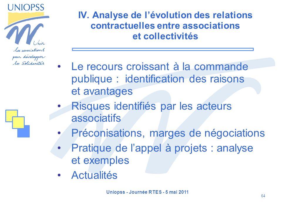 Uniopss - Journée RTES - 5 mai 2011 64 IV. Analyse de lévolution des relations contractuelles entre associations et collectivités Le recours croissant