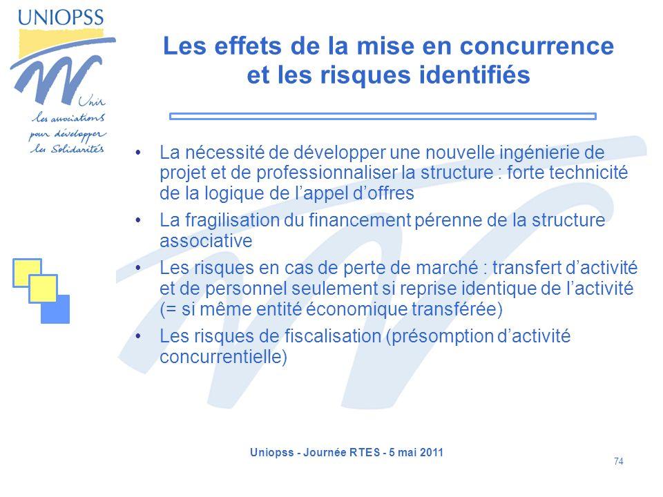 Uniopss - Journée RTES - 5 mai 2011 74 Les effets de la mise en concurrence et les risques identifiés La nécessité de développer une nouvelle ingénier
