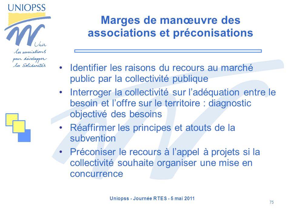 Uniopss - Journée RTES - 5 mai 2011 75 Marges de manœuvre des associations et préconisations Identifier les raisons du recours au marché public par la