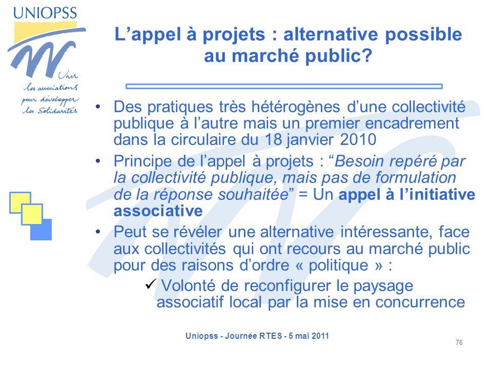 Uniopss - Journée RTES - 5 mai 2011 76 Lappel à projets : alternative possible au marché public? Des pratiques très hétérogènes dune collectivité publ