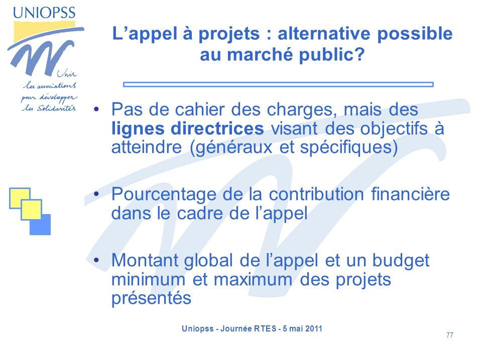 Uniopss - Journée RTES - 5 mai 2011 77 Lappel à projets : alternative possible au marché public? Pas de cahier des charges, mais des lignes directrice