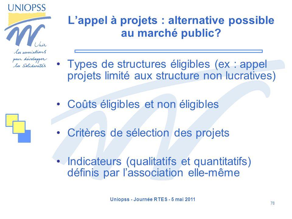 Uniopss - Journée RTES - 5 mai 2011 78 Lappel à projets : alternative possible au marché public? Types de structures éligibles (ex : appel projets lim