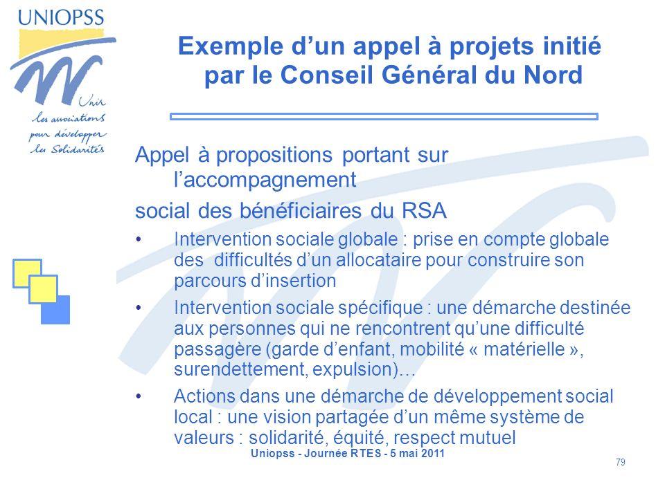 Uniopss - Journée RTES - 5 mai 2011 79 Exemple dun appel à projets initié par le Conseil Général du Nord Appel à propositions portant sur laccompagnem