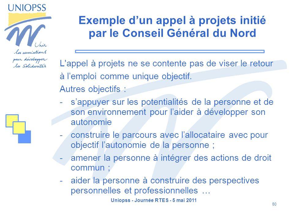 Uniopss - Journée RTES - 5 mai 2011 80 Exemple dun appel à projets initié par le Conseil Général du Nord L'appel à projets ne se contente pas de viser
