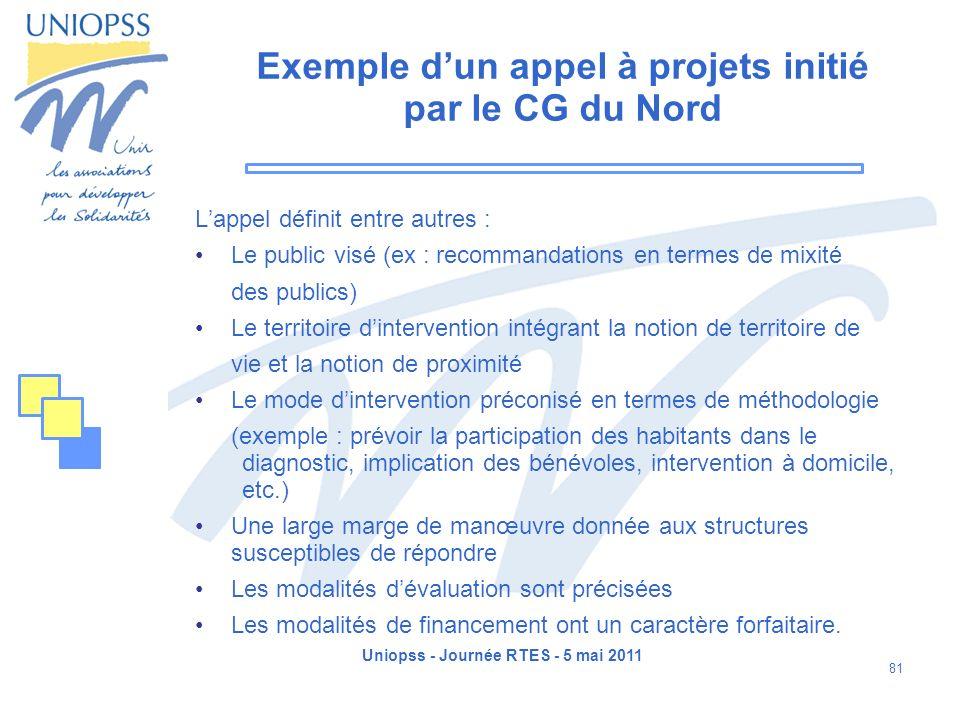 Uniopss - Journée RTES - 5 mai 2011 81 Exemple dun appel à projets initié par le CG du Nord Lappel définit entre autres : Le public visé (ex : recomma