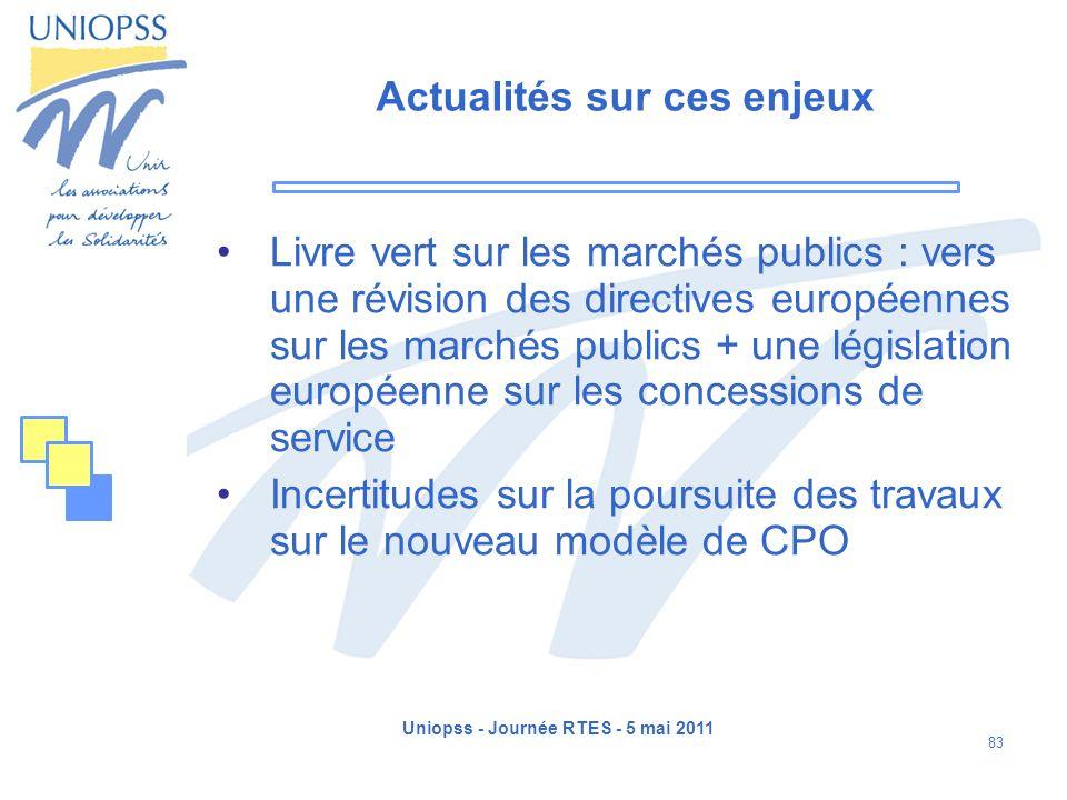 Uniopss - Journée RTES - 5 mai 2011 83 Actualités sur ces enjeux Livre vert sur les marchés publics : vers une révision des directives européennes sur