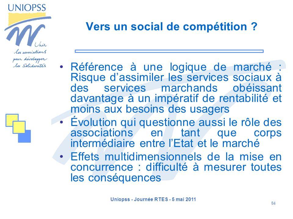 Uniopss - Journée RTES - 5 mai 2011 84 Vers un social de compétition ? Référence à une logique de marché : Risque dassimiler les services sociaux à de