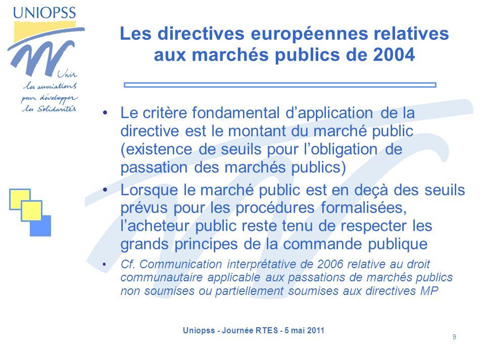 Uniopss - Journée RTES - 5 mai 2011 9 Les directives européennes relatives aux marchés publics de 2004 Le critère fondamental dapplication de la direc