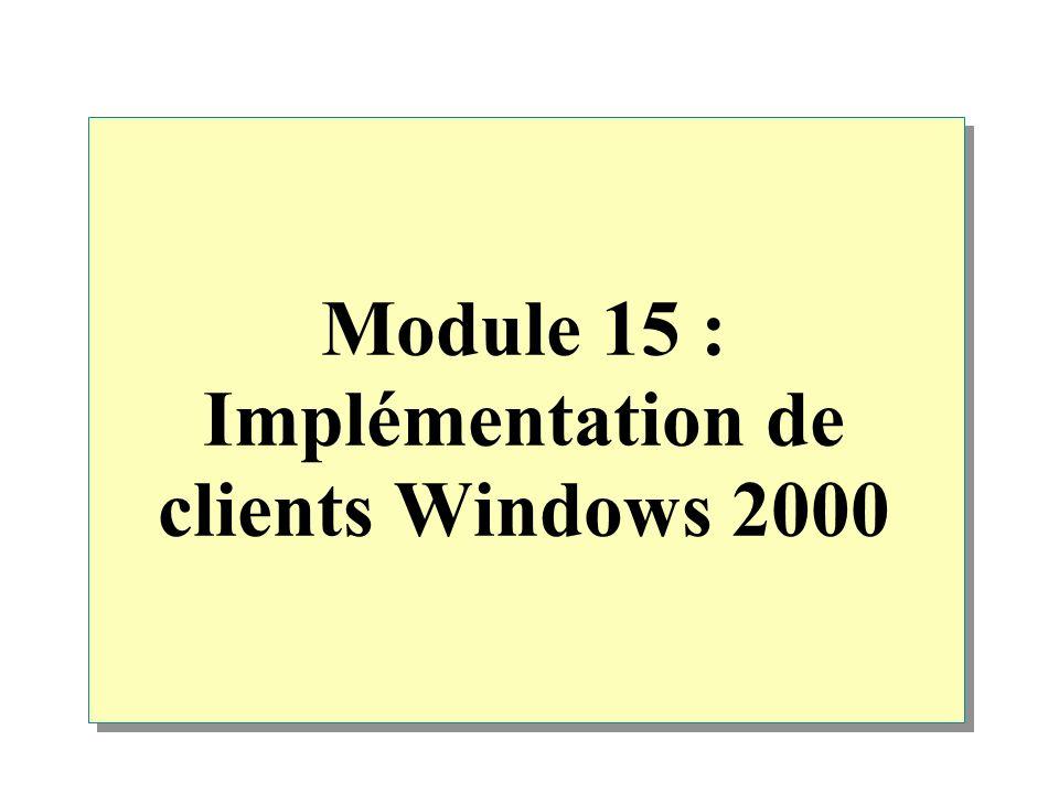 Vue d ensemble Déploiement de Windows 2000 Installation manuelle de Windows 2000 sur un réseau Personnalisation d installations et de mises à niveau à l aide de commutateurs Installation de Windows 2000 à l aide de l Assistant Gestion d installation Utilisation de la duplication de disque Installation de Windows 2000 à l aide des services RIS Résolution des problèmes liés à l installation de Windows 2000
