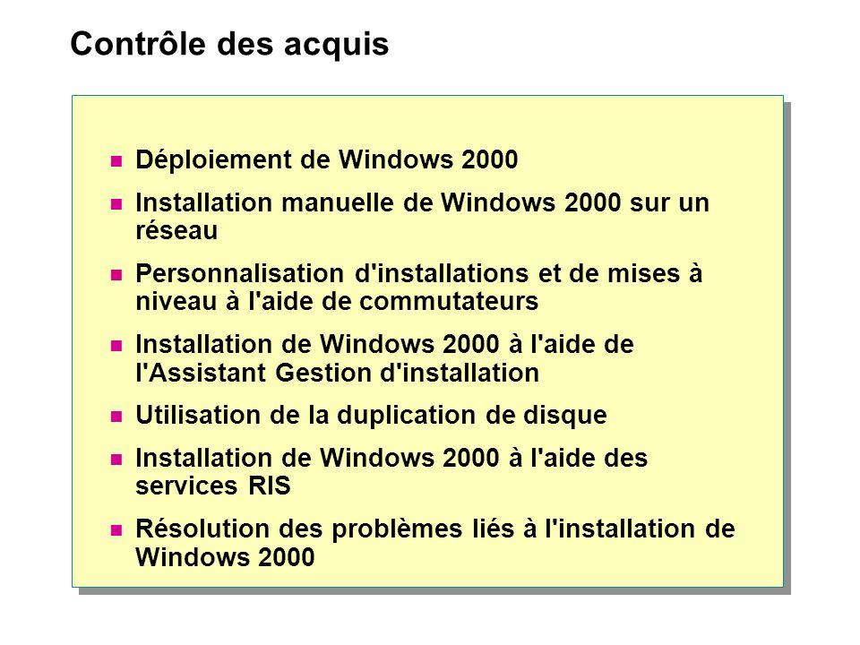 Contrôle des acquis Déploiement de Windows 2000 Installation manuelle de Windows 2000 sur un réseau Personnalisation d'installations et de mises à niv