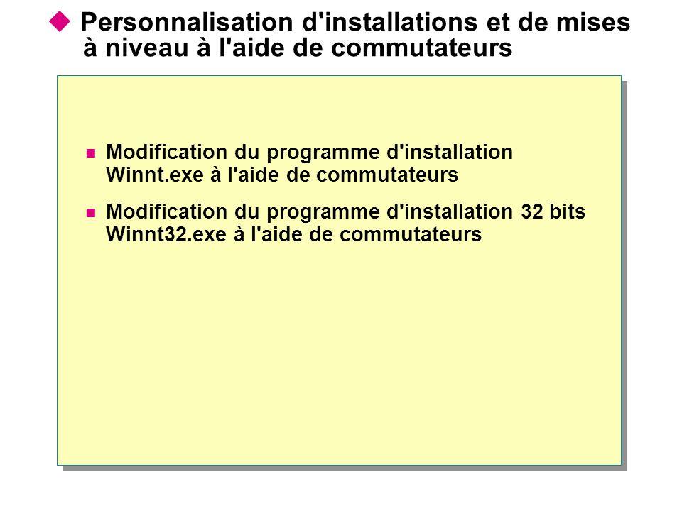 Personnalisation d'installations et de mises à niveau à l'aide de commutateurs Modification du programme d'installation Winnt.exe à l'aide de commutat