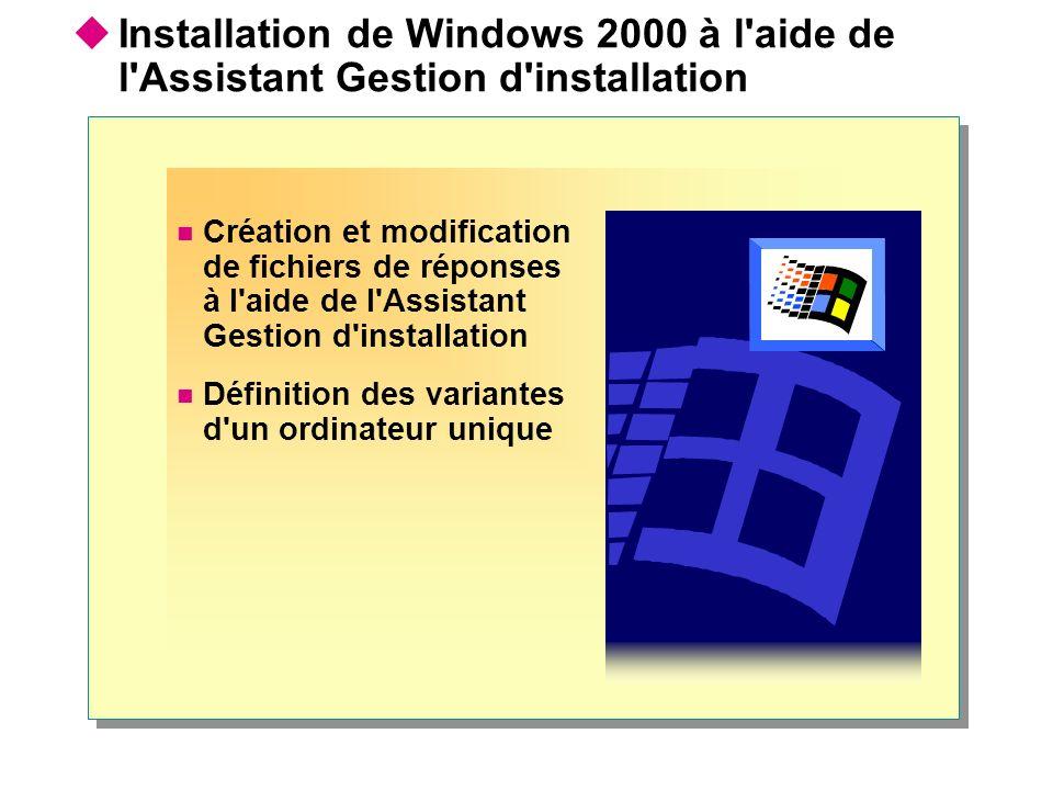 Création et modification de fichiers de réponses à l'aide de l'Assistant Gestion d'installation Définition des variantes d'un ordinateur unique Instal