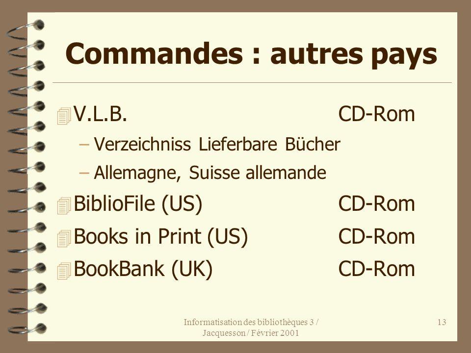 Informatisation des bibliothèques 3 / Jacquesson / Février 2001 13 Commandes : autres pays 4 V.L.B.CD-Rom –Verzeichniss Lieferbare Bücher –Allemagne,