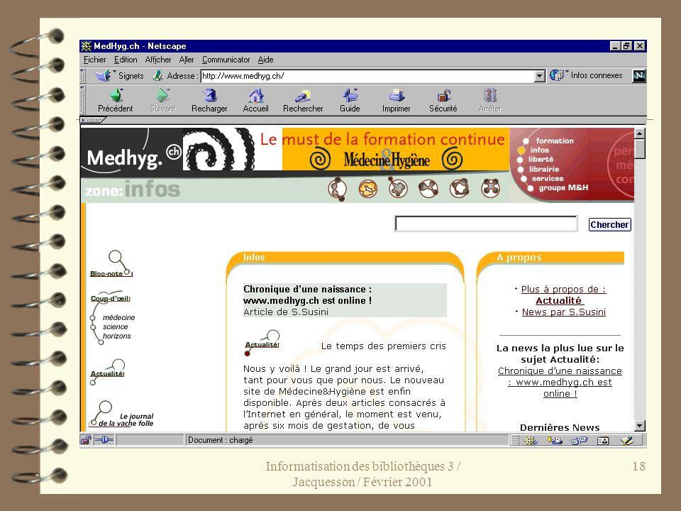 Informatisation des bibliothèques 3 / Jacquesson / Février 2001 18