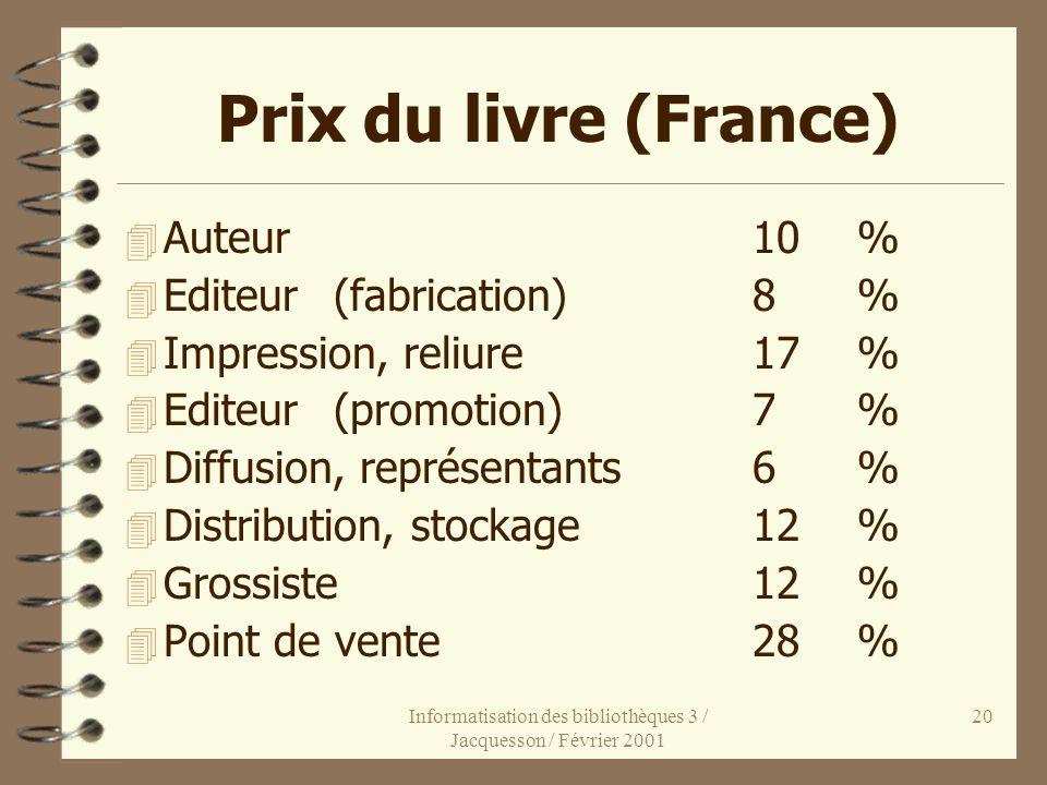 Informatisation des bibliothèques 3 / Jacquesson / Février 2001 20 Prix du livre (France) 4 Auteur10 % 4 Editeur(fabrication)8% 4 Impression, reliure1