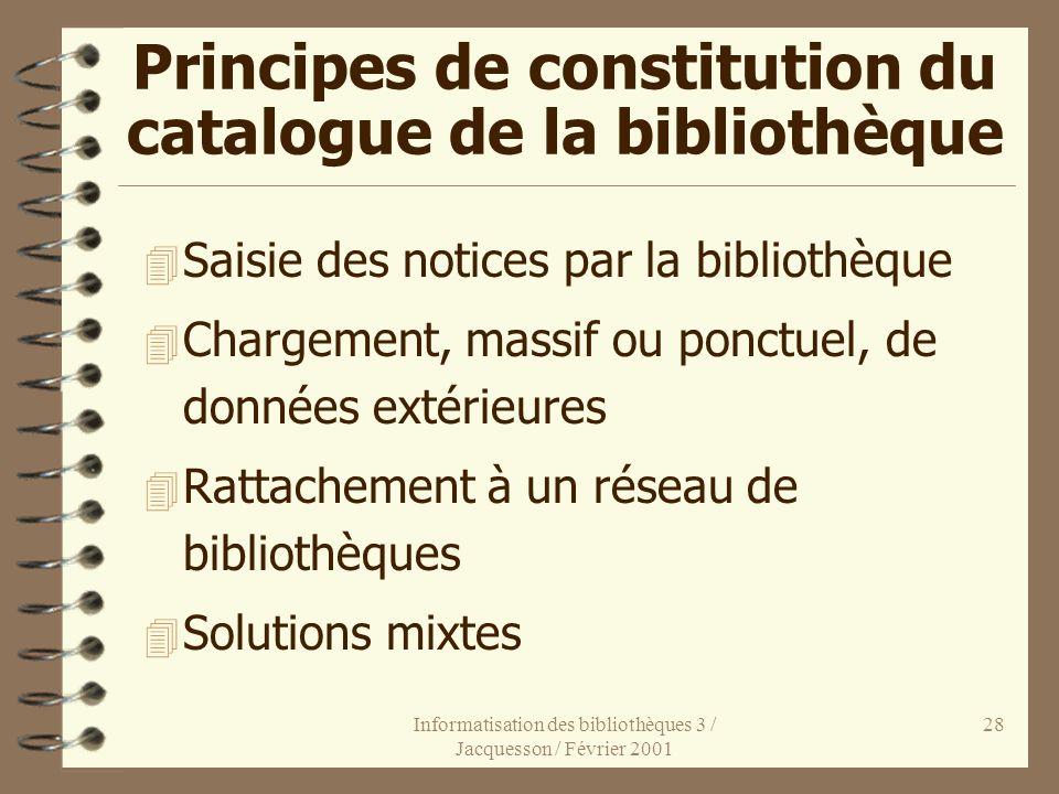 Informatisation des bibliothèques 3 / Jacquesson / Février 2001 28 Principes de constitution du catalogue de la bibliothèque 4 Saisie des notices par