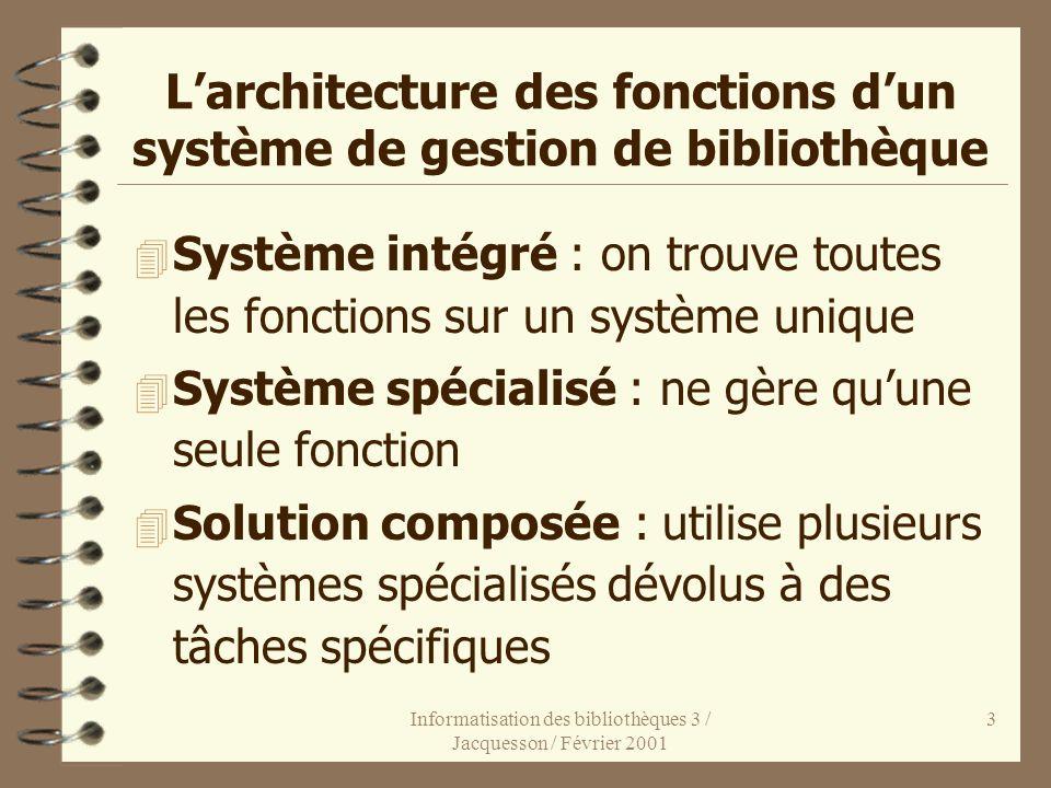 Informatisation des bibliothèques 3 / Jacquesson / Février 2001 3 Larchitecture des fonctions dun système de gestion de bibliothèque 4 Système intégré