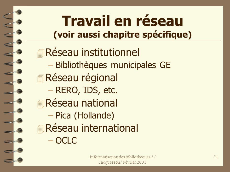 Informatisation des bibliothèques 3 / Jacquesson / Février 2001 31 Travail en réseau (voir aussi chapitre spécifique) 4 Réseau institutionnel –Bibliot
