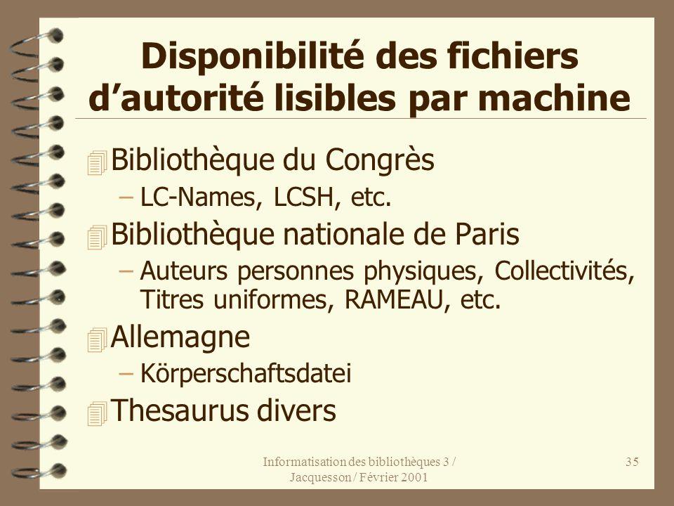 Informatisation des bibliothèques 3 / Jacquesson / Février 2001 35 Disponibilité des fichiers dautorité lisibles par machine 4 Bibliothèque du Congrès
