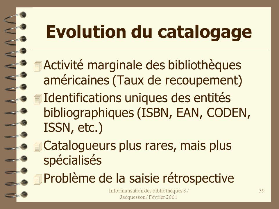 Informatisation des bibliothèques 3 / Jacquesson / Février 2001 39 Evolution du catalogage 4 Activité marginale des bibliothèques américaines (Taux de