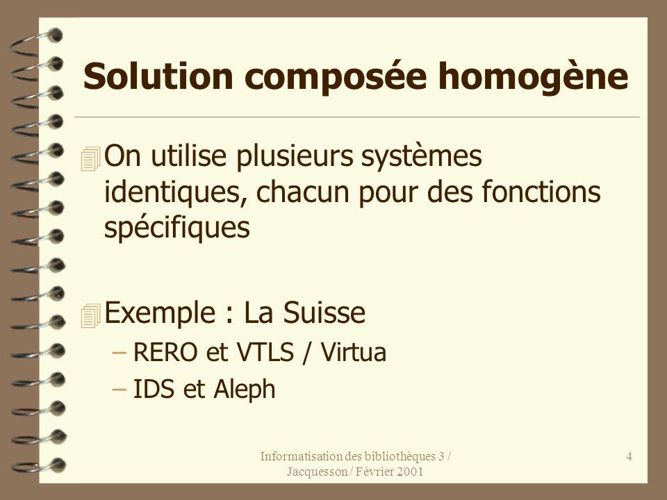 Informatisation des bibliothèques 3 / Jacquesson / Février 2001 4 Solution composée homogène 4 On utilise plusieurs systèmes identiques, chacun pour d