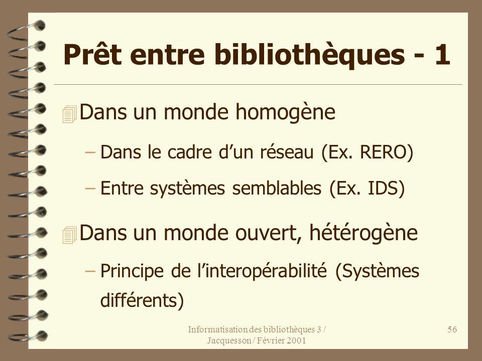 Informatisation des bibliothèques 3 / Jacquesson / Février 2001 56 Prêt entre bibliothèques - 1 4 Dans un monde homogène –Dans le cadre dun réseau (Ex
