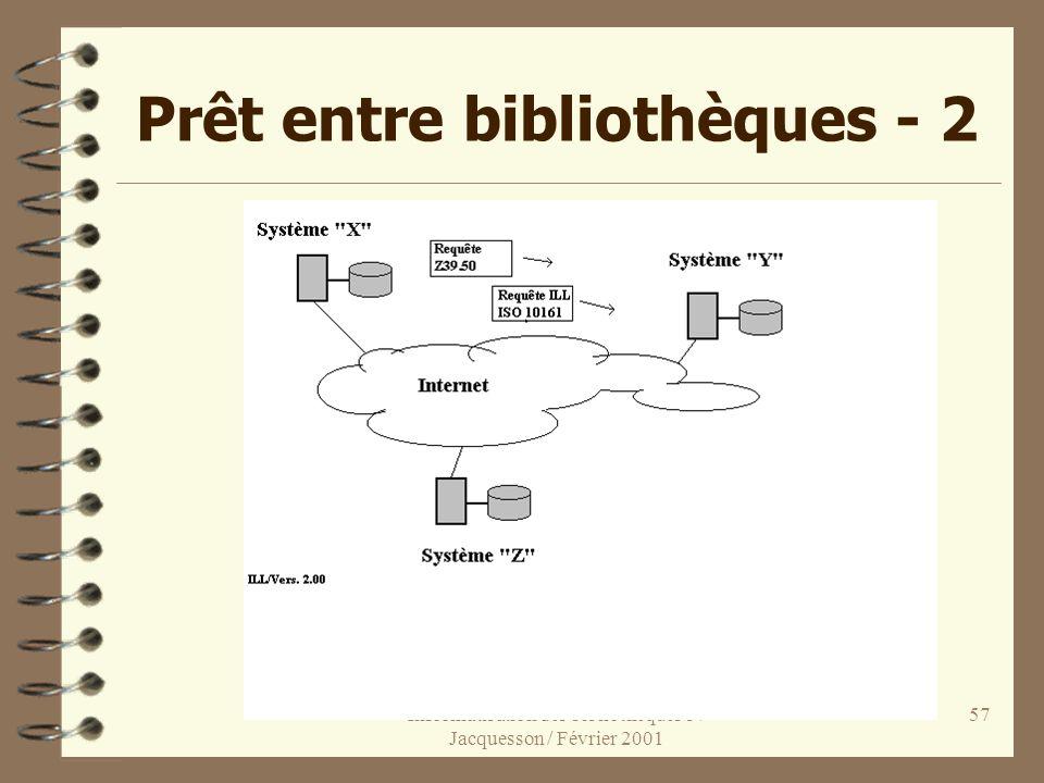 Informatisation des bibliothèques 3 / Jacquesson / Février 2001 57 Prêt entre bibliothèques - 2
