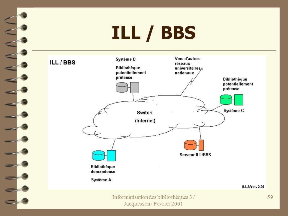 Informatisation des bibliothèques 3 / Jacquesson / Février 2001 59 ILL / BBS