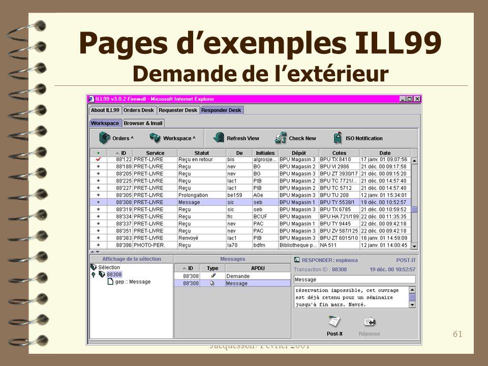 Informatisation des bibliothèques 3 / Jacquesson / Février 2001 61 Pages dexemples ILL99 Demande de lextérieur