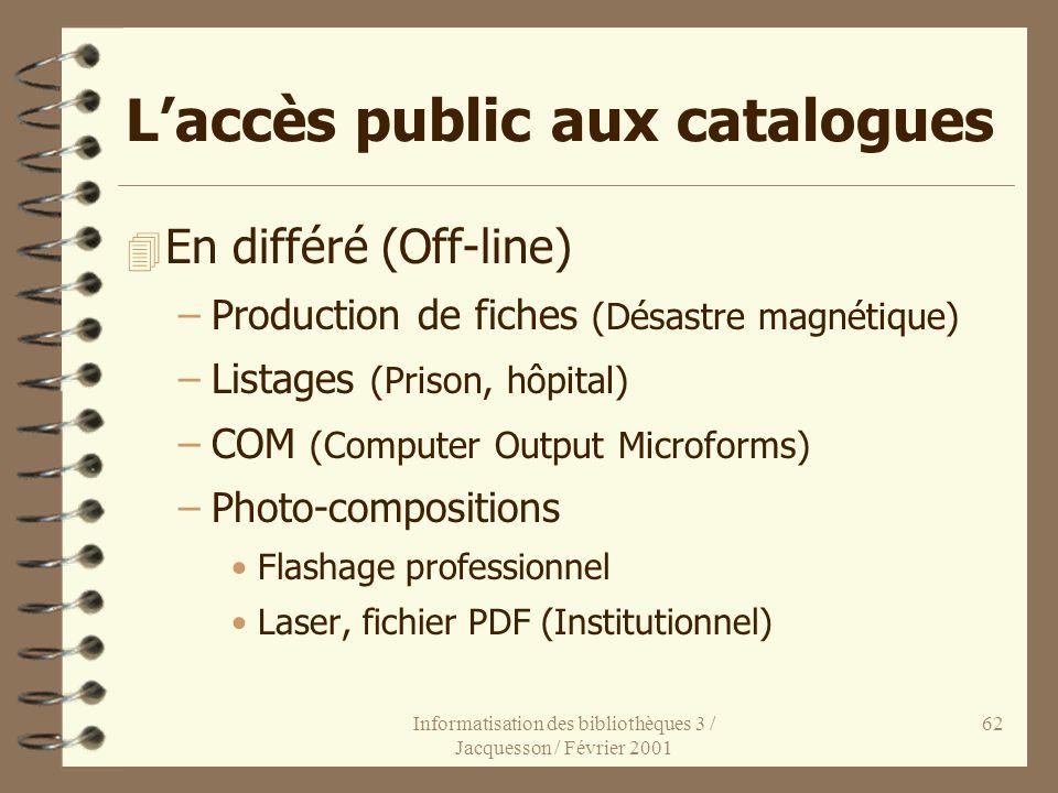 Informatisation des bibliothèques 3 / Jacquesson / Février 2001 62 Laccès public aux catalogues 4 En différé (Off-line) –Production de fiches (Désastr
