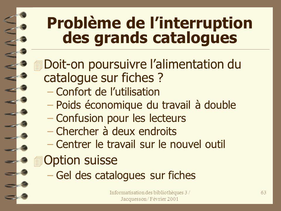 Informatisation des bibliothèques 3 / Jacquesson / Février 2001 63 Problème de linterruption des grands catalogues 4 Doit-on poursuivre lalimentation