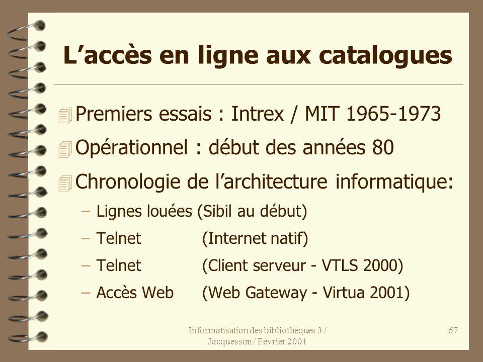 Informatisation des bibliothèques 3 / Jacquesson / Février 2001 67 Laccès en ligne aux catalogues 4 Premiers essais : Intrex / MIT 1965-1973 4 Opérati