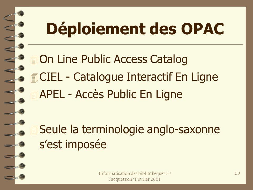 Informatisation des bibliothèques 3 / Jacquesson / Février 2001 69 Déploiement des OPAC 4 On Line Public Access Catalog 4 CIEL - Catalogue Interactif