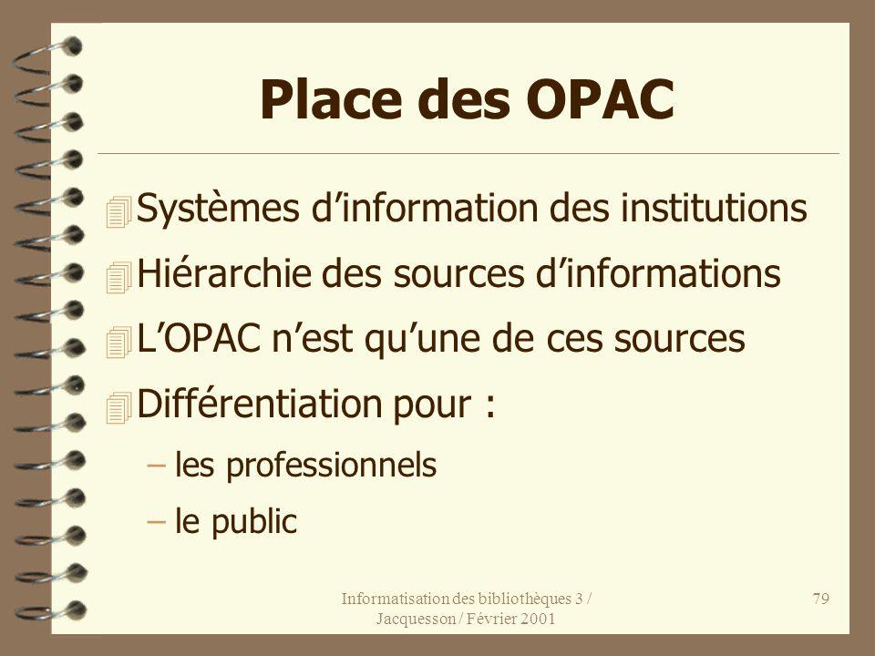 Informatisation des bibliothèques 3 / Jacquesson / Février 2001 79 Place des OPAC 4 Systèmes dinformation des institutions 4 Hiérarchie des sources di