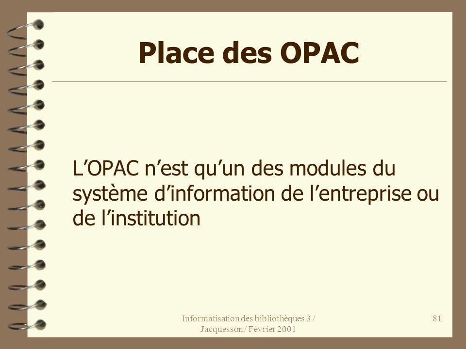 Informatisation des bibliothèques 3 / Jacquesson / Février 2001 81 Place des OPAC LOPAC nest quun des modules du système dinformation de lentreprise o