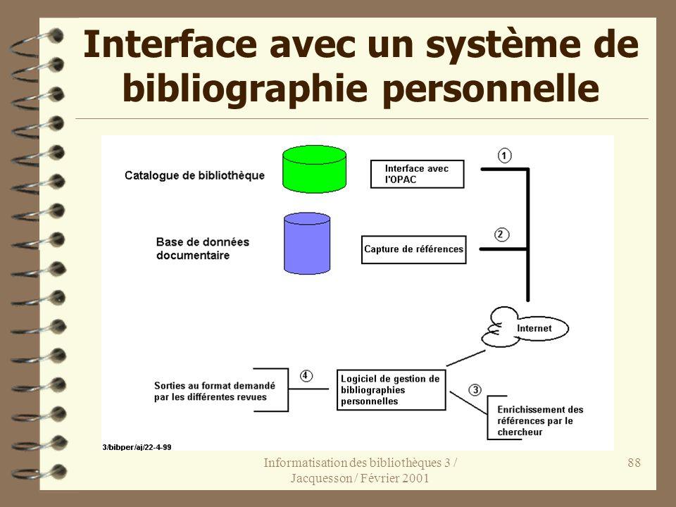 Informatisation des bibliothèques 3 / Jacquesson / Février 2001 88 Interface avec un système de bibliographie personnelle