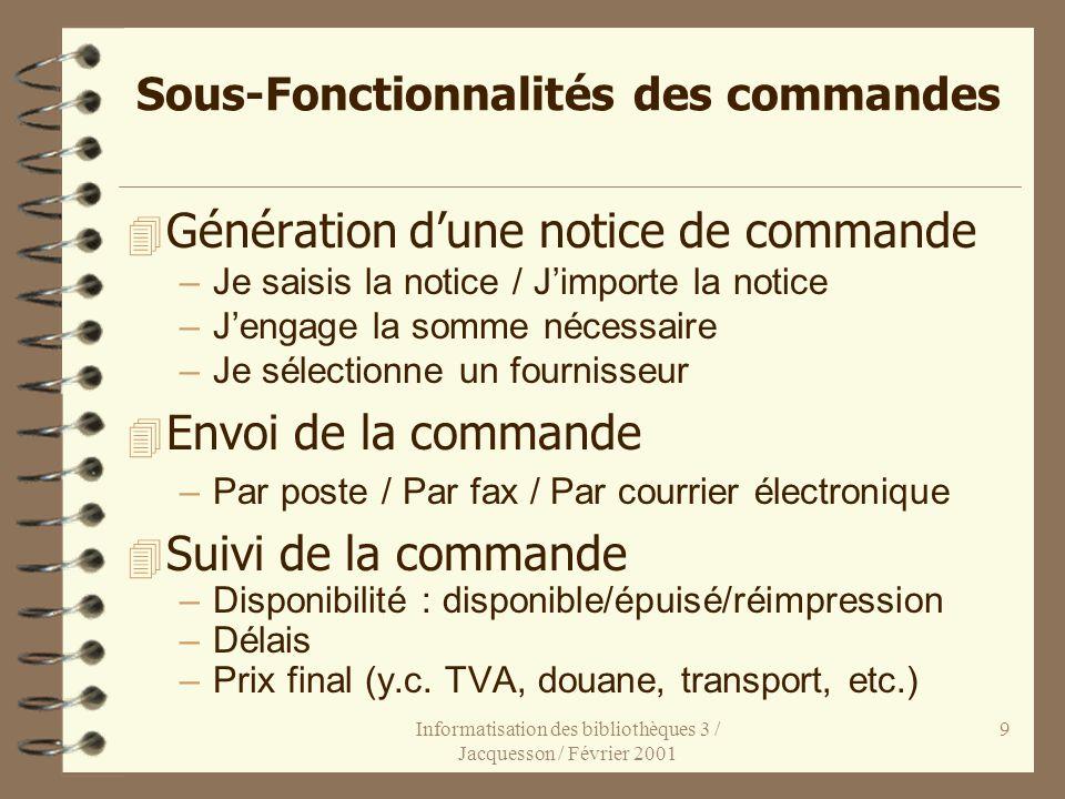 Informatisation des bibliothèques 3 / Jacquesson / Février 2001 9 Sous-Fonctionnalités des commandes 4 Génération dune notice de commande –Je saisis l