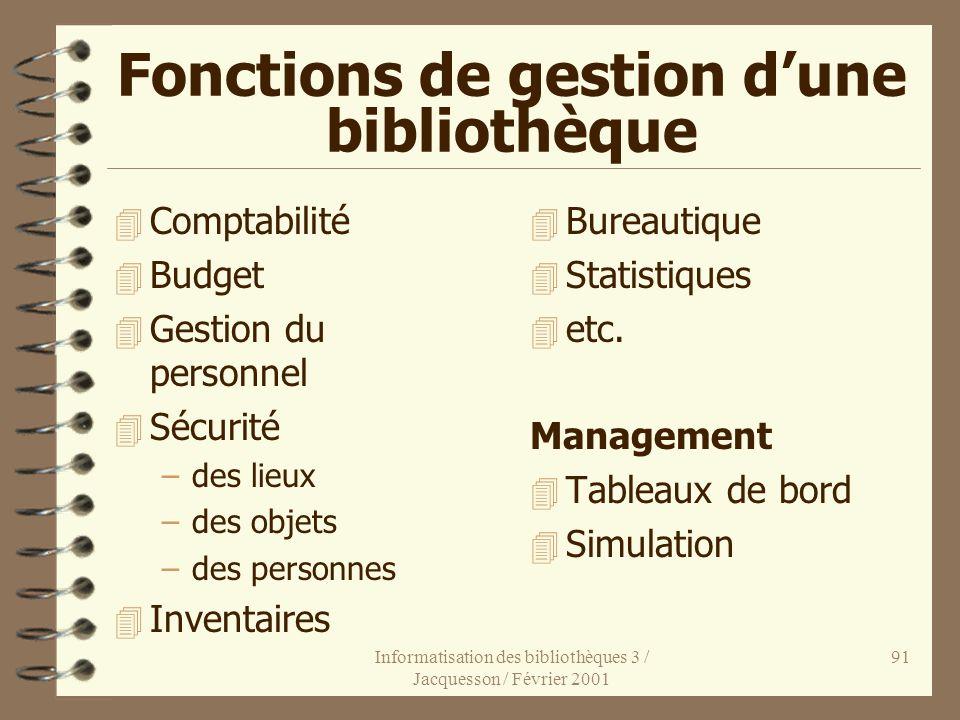 Informatisation des bibliothèques 3 / Jacquesson / Février 2001 91 Fonctions de gestion dune bibliothèque 4 Comptabilité 4 Budget 4 Gestion du personn