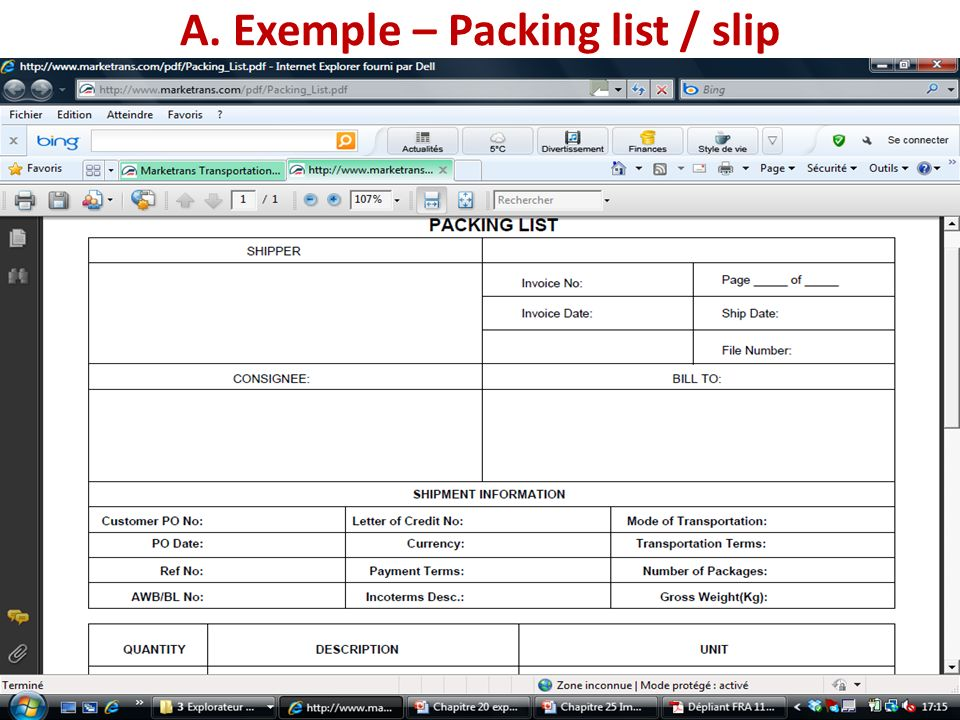 A. Exemple – Packing list / slip