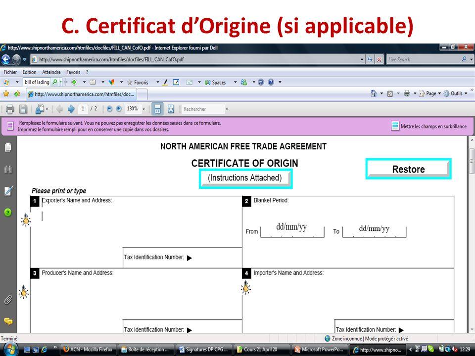 C. Certificat dOrigine (si applicable)