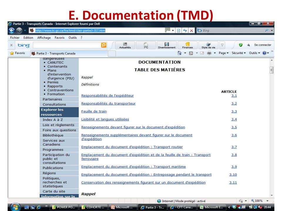 E. Documentation (TMD)