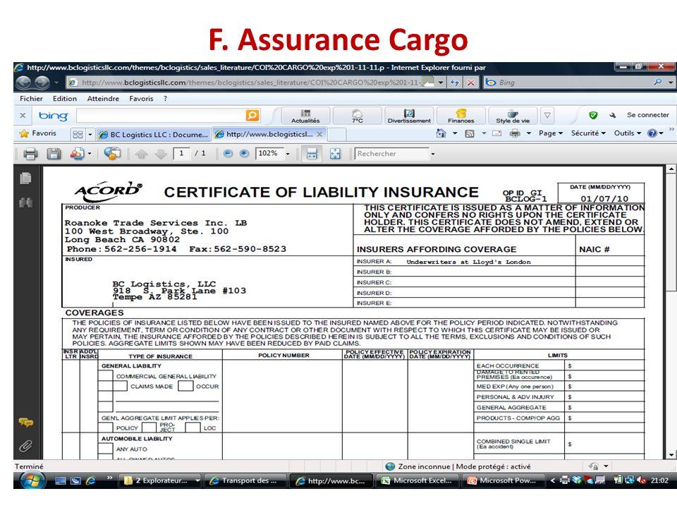 F. Assurance Cargo